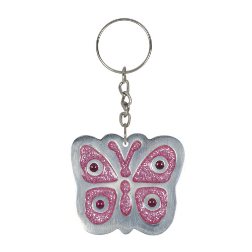 KEY RING BUTTERFLY PINK GLITTER