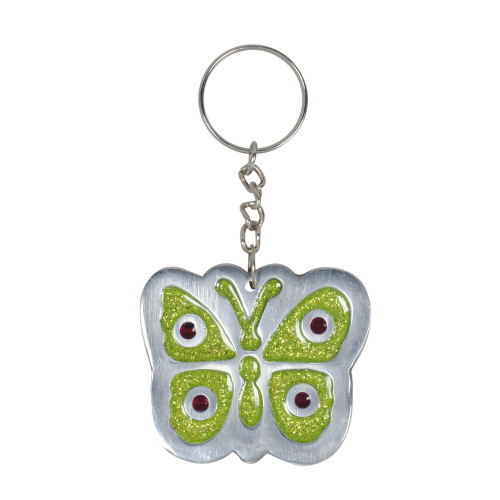 KEY RING BUTTERFLY GREEN GLITTER