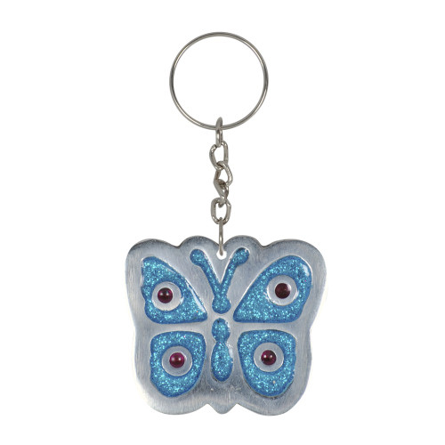 KEY RING BUTTERFLY TURQUOISE GLITTER