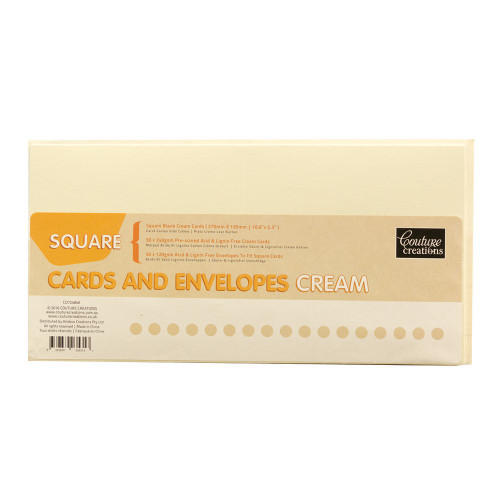 Couture Creations - Cards + Envelopes - Cream Square - 50 Sets