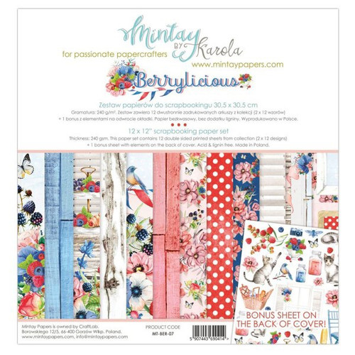 Mintay 'Berrylicious' 12 x 12 Paper Pack