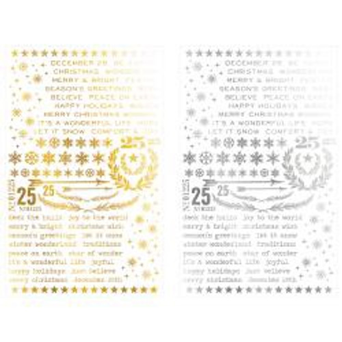 Tim Holtz - Ideaology - Remnant Rub Ons - Guilded Christmas
