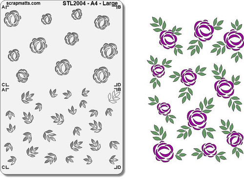 Scrapmatts - A4 - Layered Stencil - Large Roses