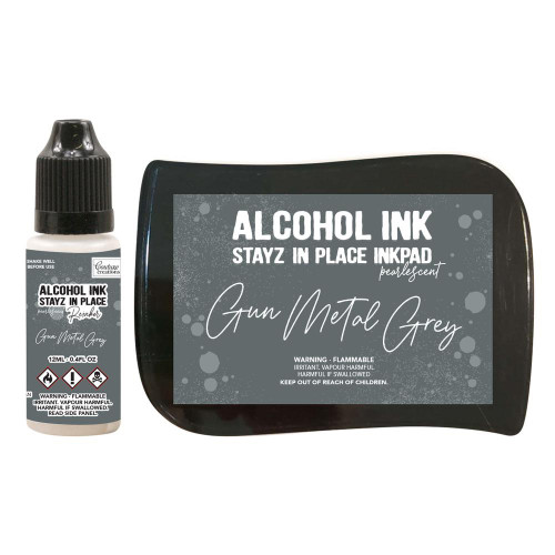 Couture Creations - Stayz in place Alcohol Ink- Gun Metal Grey - Pearlescent and Re inker