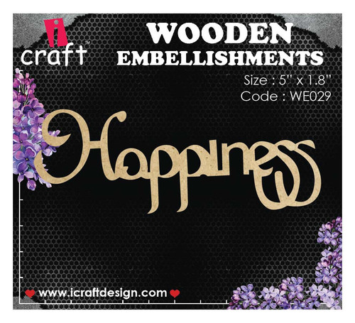 iCraft - Chipboard - Happiness Large Script i029