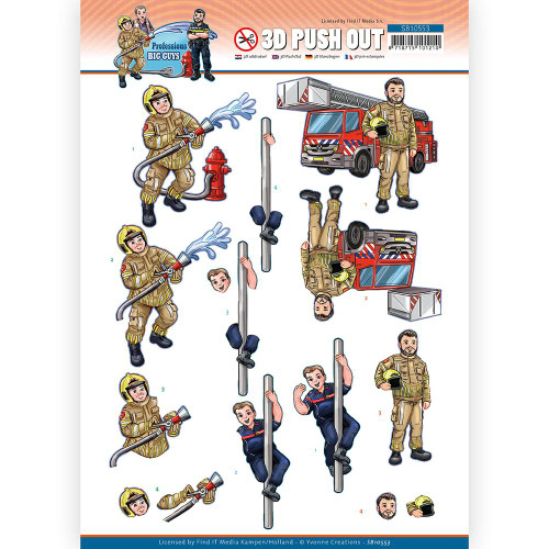 Couture Creations - 3D Push Out - Big Guys Professions - Fire Dept