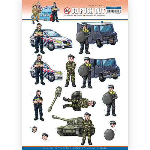 Couture Creations - 3D Push Out - Big Guys Professions - Police