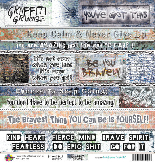 Colour Blast by Bee Arty - Graffiti Grunge - Be Yourself 12 x 12 Paper