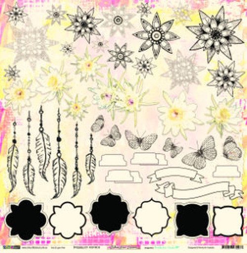 Colour Blast by Bee Arty - Follow Your Dreams - Possibility Cut & Colour 12 x 12 Paper