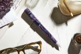 Kanilea Aolani fountain pen, Classic Slim profile, sterling silver medallion, and Rhodium-plated 18k gold nib