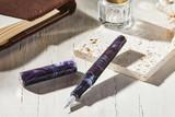 Kanilea Aolani fountain pen, Classic V profile, sterling silver medallion, and Rhodium-plated 18k gold nib