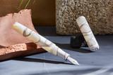 Kanilea Kona Snow fountain pen, Classic Flush profile, sterling silver medallion, and Rhodium-plated 18k gold nib