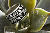 Maile Lei anniversary band in Argentium Silver