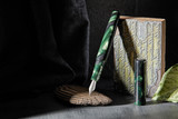 Kanilea Manta fountain pen, Classic profile, sterling silver medallion, and Rhodium-plated 18k gold nib