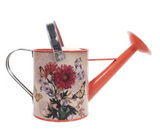 .75 Gallon Red/Orange Floral Steel Watering Can