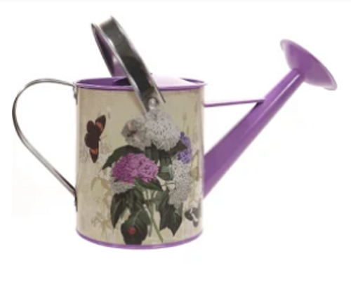 .75 Gallon Purple Floral Steel Watering Can