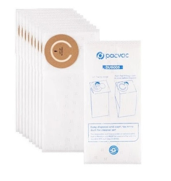 10 x Genuine Synthetic Dust Bags for Pacvac Micron and Thrift