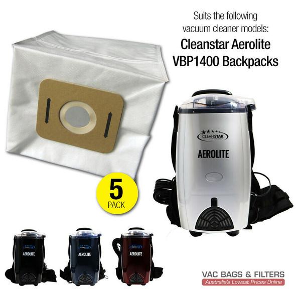 5 x  Vacuum Bags for Cleanstar Aerolite VBP1400  Backpacks