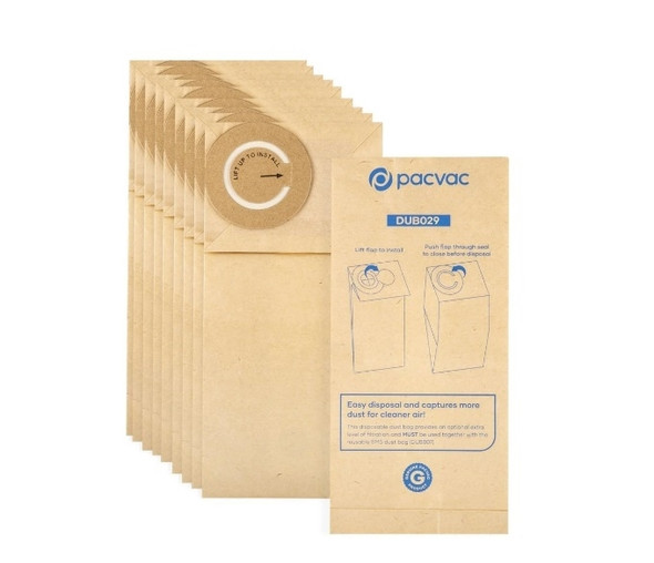 10 x Genuine Paper Dust Bags for Pacvac Micron and Thrift