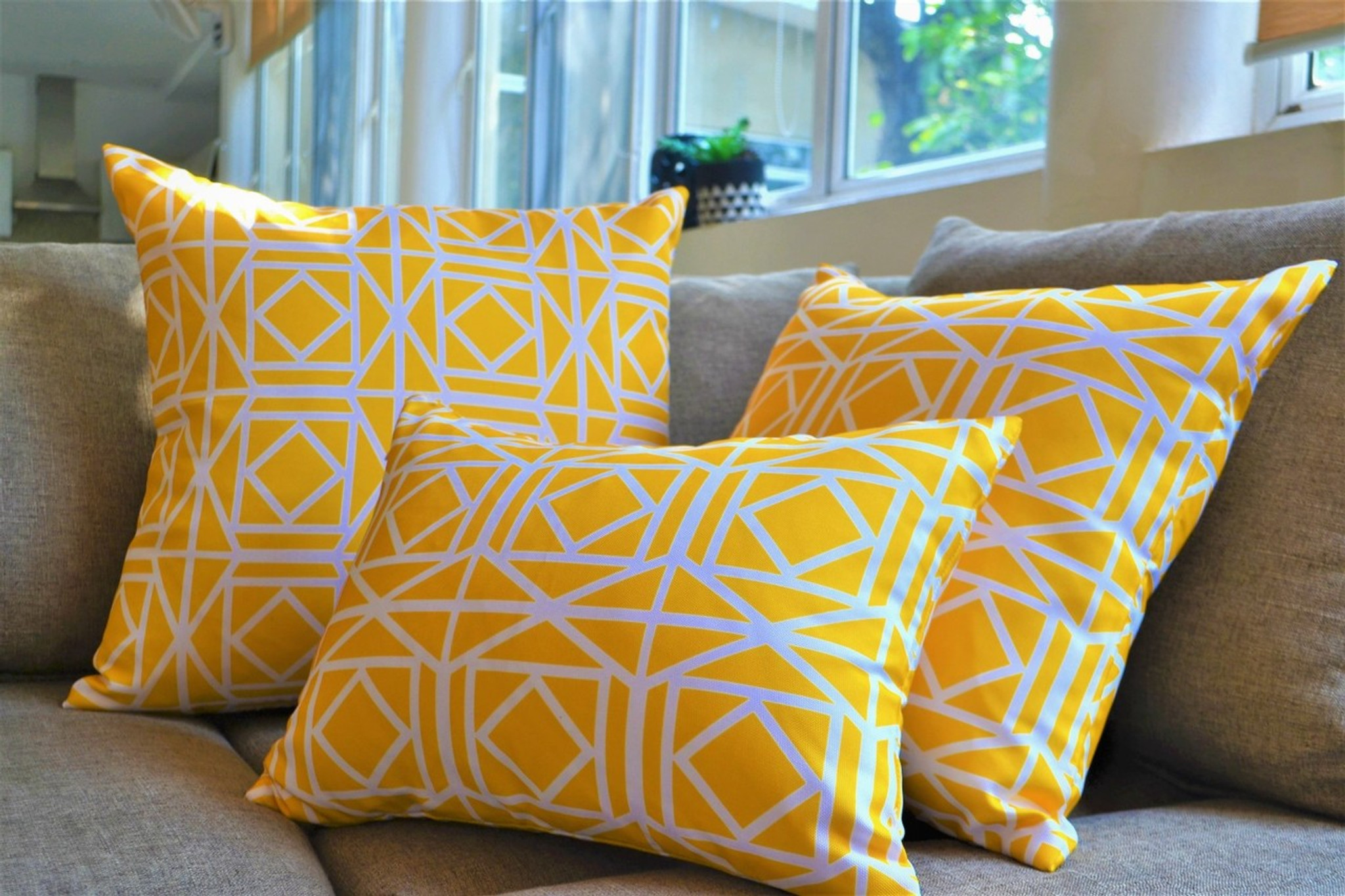 Yellow Waterproof Outdoor Cushion Covers Patio Pillows Many Sizes