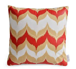 "DEFECTIVE - ""UMA"" Red/Beige IKAT Dome WATERPROOF OUTDOOR Cushion Cover 