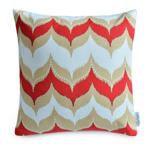 """UMA"" Red/Beige IKAT Dome Cushion Cover 