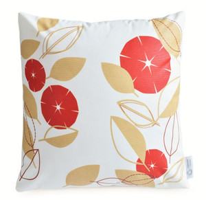 Red & Beige Modern Floral Waterproof Outdoor Cushion Cover | ZAHAARA Sanctuary