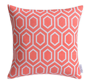 Coral Geometric Cushion Cover | Pink Geometric Throw Pillow | ZAHAARA Sanctuary