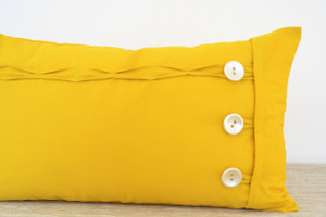 Yellow Oblong / Rectangular Cushion with Buttons