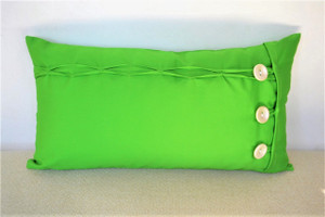 "Emerald Green/Jade Oblong / Rectangular Cushion Cover Button & Loop 12"" x 22"""