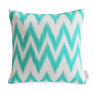 Turquoise/Aqua IKAT Chevron Cushion Cover | Teal IKAT Zig Zag Pillow Case  | ZAHAARA Sanctuary
