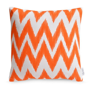Orange IKAT Chevron Cushion Cover | Bright Zig Zag Throw Pillow | ZAHAARA Sanctuary