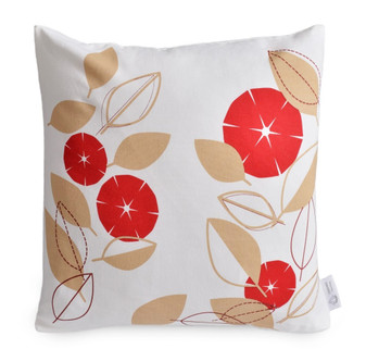 Red & Beige Modern Floral Cushion Cover | Red Floral Pillow | ZAHAARA Sanctuary