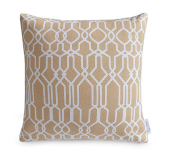 """Clifton"" Beige Geometric Lattice Cushion Cover"