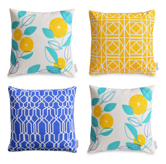 4 x Geometric/Floral Cushion Covers Greek Blue/Aqua/Yellow | ZAHAARA Sanctuary