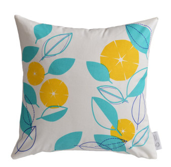 Yellow, Aqua Modern Floral Cushion Cover | Yellow Floral Throw Pillow | ZAHAARA Sanctuary