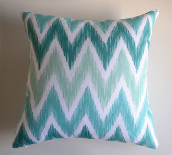 """Kai"" Turquoise/Aqua Chevron Cushion Cover Older Stock"