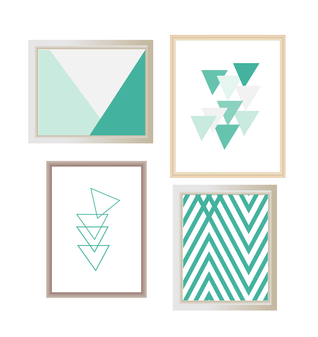 4 x Minimalist Abstract Printable Wall Art Turquoise / Aqua / Teal Modern Triangle print, Geometric Art