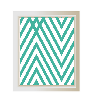 Turquoise chevron print, Mint green chevron wall art, Triangle minimalist printable art