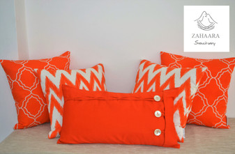 Orange Scatter Cushions, Geometric, Bright, Orange Throw Pillow Set