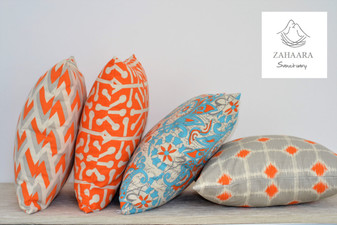 Orange Aqua Geometric Floral Pillow Set | Premier Prints Fabric