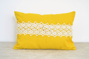 Slight Defect Yellow Oblong / Rectangular Cushion Cover