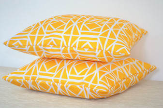 "1 x ""Abagail"" Yellow WATERPROOF OUTDOOR Geometric Cushion Cover 16"""