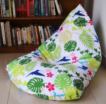 SECRET GARDEN Outdoor Bean Bag Cover Waterproof Tropical Leaves, hummingbirds design