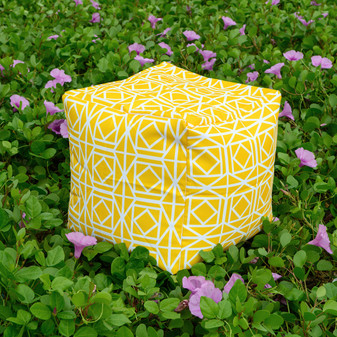 ABAGAIL Yellow Pouf / ottoman waterproof in/outdoor 16""