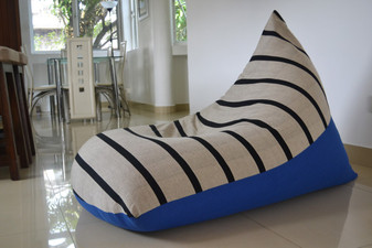 NYLE Large cream & blue bean bag cover in handloom cotton