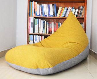 Rio - Extra Large BEAN BAG Cover, 100% COTTON, Yellow, Grey
