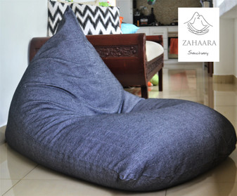 THE ROCK Large denim dark grey-black bean bag cover in handloom cotton