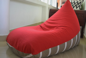 CHERRY Large red & grey bean bag cover in handloom cotton