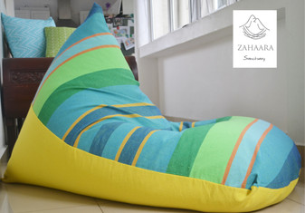 TROPICAL ISLE Large turquoise/aqua/blue & lemon yellow bean bag cover in handloom cotton